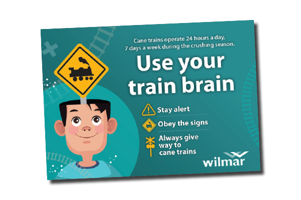 Cane train safety poster